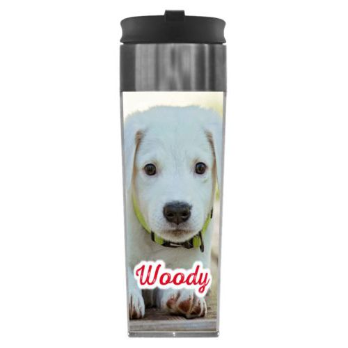 "Personalized steel mug personalized with photo and the saying ""Woody"""