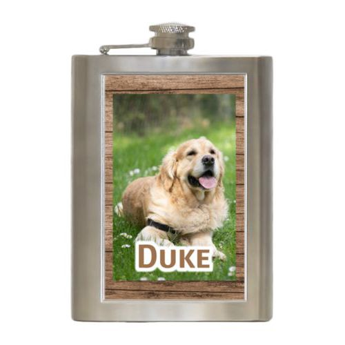 "Personalized 8oz flask personalized with brown wood pattern and photo and the saying ""Duke"""