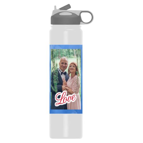 "Personalized water bottle personalized with blue cloud pattern and photo and the saying ""love"""
