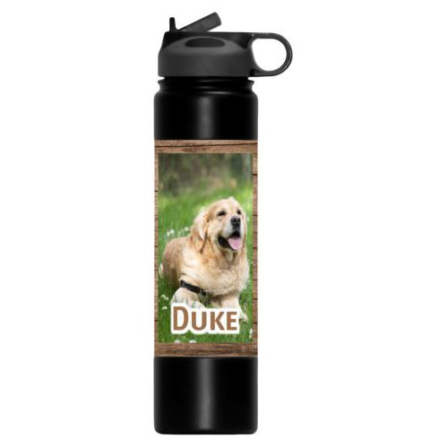 "Insulated water bottle personalized with brown wood pattern and photo and the saying ""Duke"""