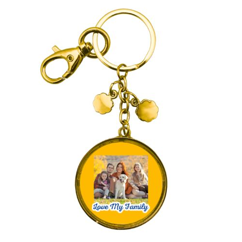 "Personalized metal keychain personalized with photo and the saying ""Love My Family"""