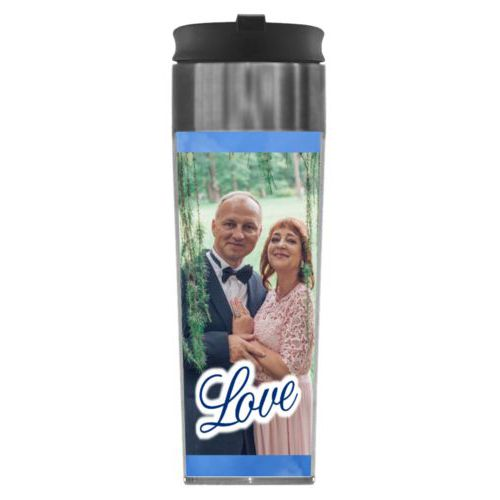 "Personalized steel mug personalized with blue cloud pattern and photo and the saying ""love"""