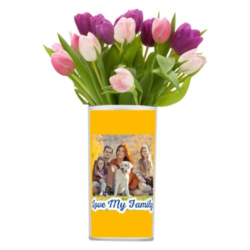 "Personalized vase personalized with photo and the saying ""Love My Family"""