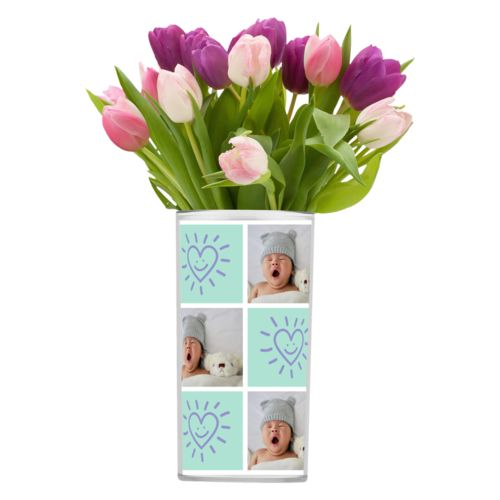 "Personalized vase personalized with a photo and the saying ""Smiling Heart"" in easter purple and mint"