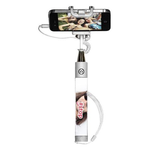 "Personalized selfie stick personalized with photo and the saying ""#stop"""