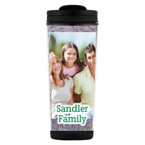 "Custom tall coffee mug personalized with grey wood pattern and photo and the saying ""Sandler Family"""