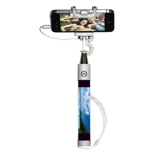 "Personalized selfie stick personalized with photo and the saying ""Paradise 2-4-2020"""