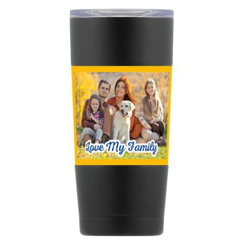 "Personalized insulated steel mug personalized with photo and the saying ""Love My Family"""