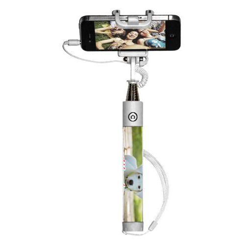 "Personalized selfie stick personalized with photo and the saying ""Woody"""
