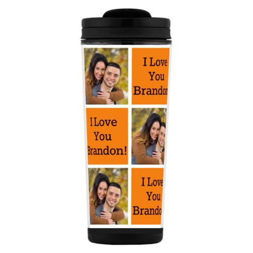 "Custom tall coffee mug personalized with a photo and the saying ""I Love You Brandon!"" in black and juicy orange"