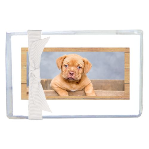 Personalized enclosure cards personalized with natural wood pattern and photo