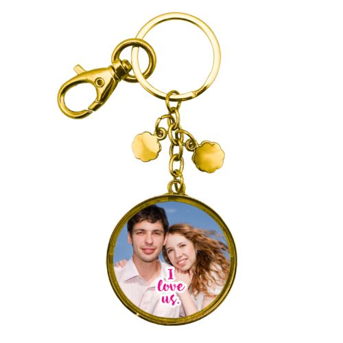 "Personalized keychain personalized with photo and the saying ""I love us"""