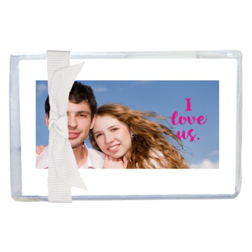 "Personalized enclosure cards personalized with photo and the saying ""I love us"""