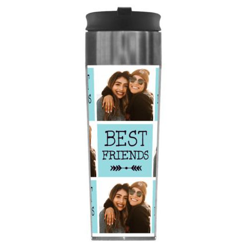 "Personalized steel mug personalized with a photo and the saying ""Best Friends"" in black and robin's shell"