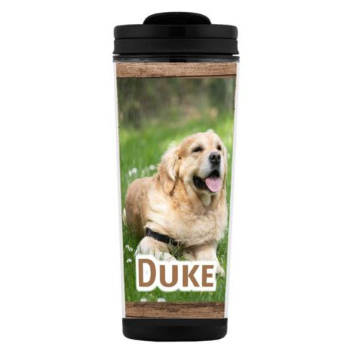 "Custom tall coffee mug personalized with brown wood pattern and photo and the saying ""Duke"""