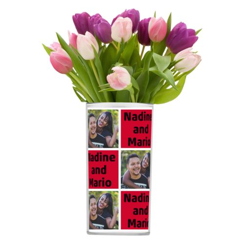 "Personalized vase personalized with a photo and the saying ""Nadine and Mario"" in black and apple red"