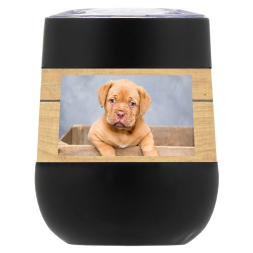 Personalized insulated wine tumbler personalized with natural wood pattern and photo