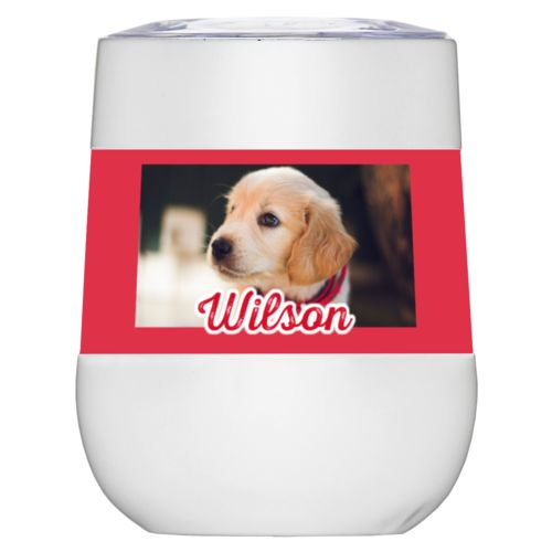 "Personalized insulated wine tumbler personalized with photo and the saying ""Wilson"""