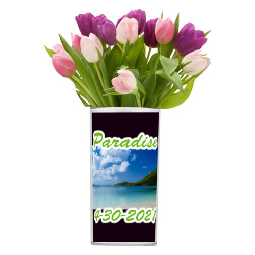 "Personalized vase personalized with photo and the sayings ""Paradise"" and ""4-30-2021"""