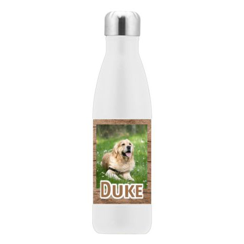 "Custom insulated water bottle personalized with brown wood pattern and photo and the saying ""Duke"""