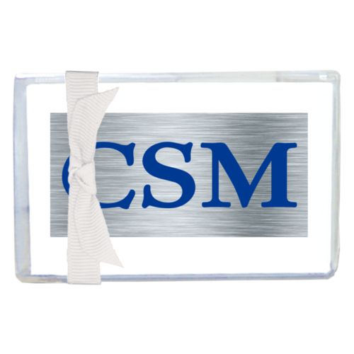 "Personalized enclosure cards personalized with steel industrial pattern and the saying ""CSM"""