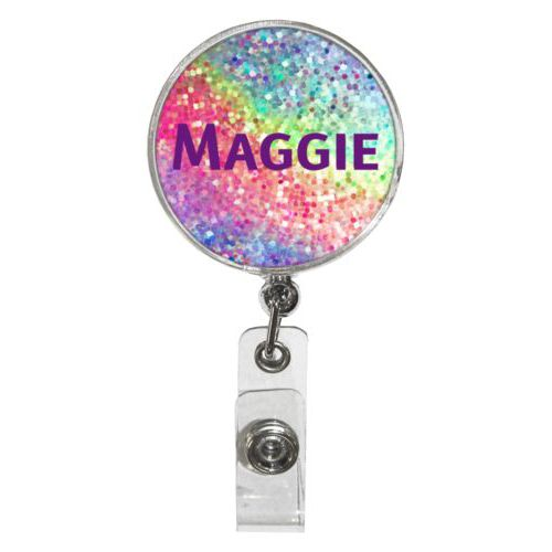 "Personalized badge reel personalized with glitter pattern and the saying ""Maggie"""