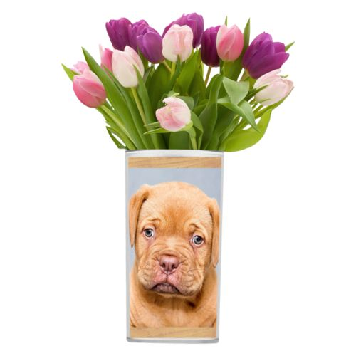 Personalized vase personalized with natural wood pattern and photo