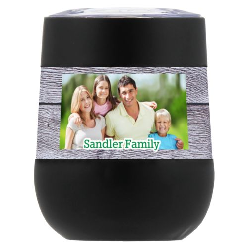 "Personalized insulated wine tumbler personalized with grey wood pattern and photo and the saying ""Sandler Family"""