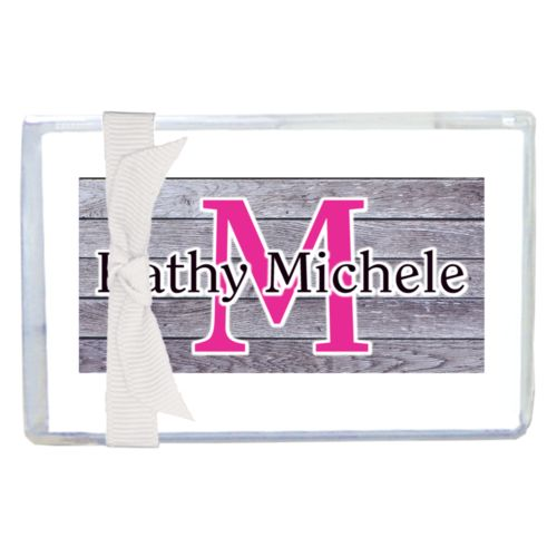 "Personalized enclosure cards personalized with grey wood pattern and the sayings ""M"" and ""Kathy Michele"""