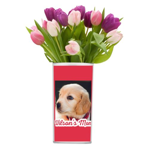 "Personalized vase personalized with photo and the saying ""Wilson's Mom"""