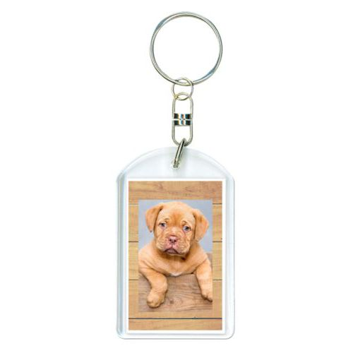 Personalized keychain personalized with natural wood pattern and photo