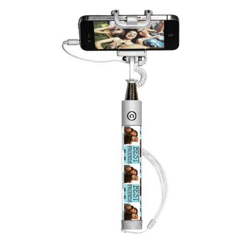 "Personalized selfie stick personalized with a photo and the saying ""Best Friends"" in black and robin's shell"