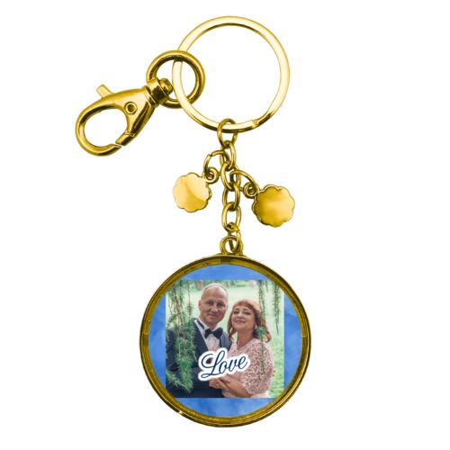 "Personalized keychain personalized with blue cloud pattern and photo and the saying ""love"""