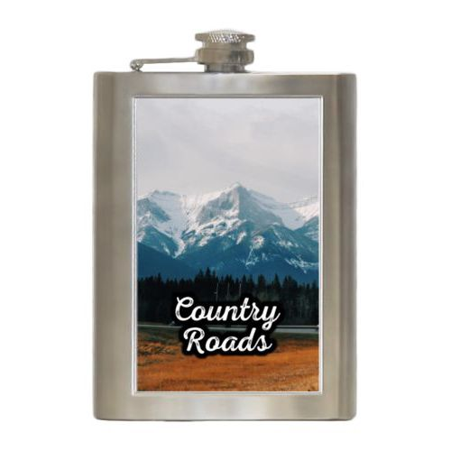 "Personalized 8oz flask personalized with photo and the saying ""Country Roads"""