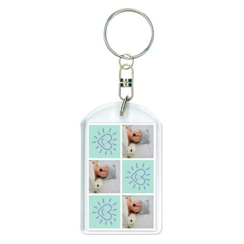 "Personalized keychain personalized with a photo and the saying ""Smiling Heart"" in easter purple and mint"