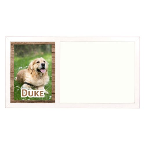 "Personalized white board personalized with brown wood pattern and photo and the saying ""Duke"""