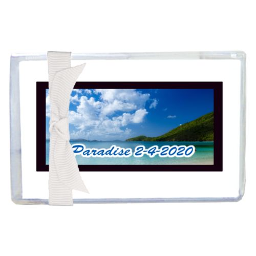 "Personalized enclosure cards personalized with photo and the saying ""Paradise 2-4-2020"""