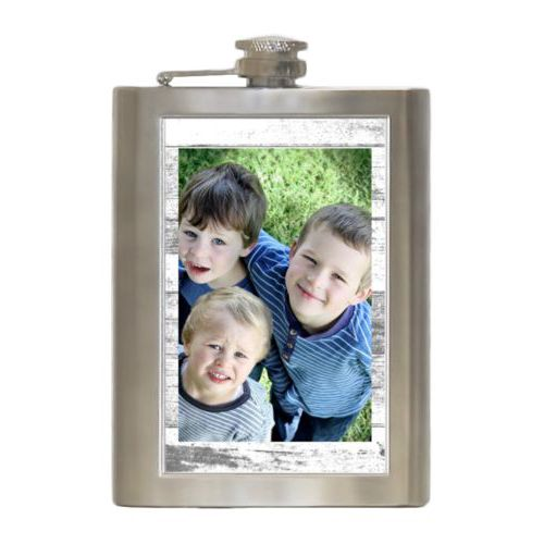 Personalized 8oz flask personalized with white rustic pattern and photo