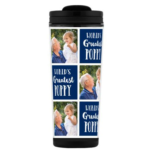 "Custom tall coffee mug personalized with a photo and the saying ""World's Greatest Poppy"" in navy blue and white"