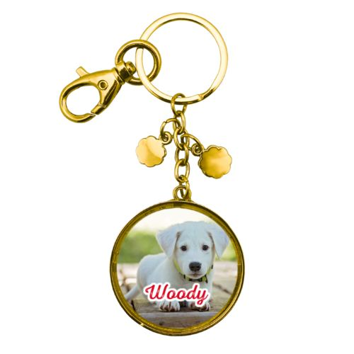 "Personalized metal keychain personalized with photo and the saying ""Woody"""