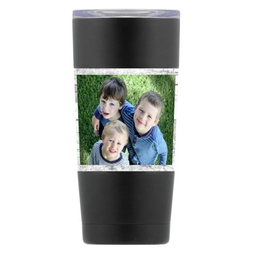 Personalized insulated steel mug personalized with white rustic pattern and photo