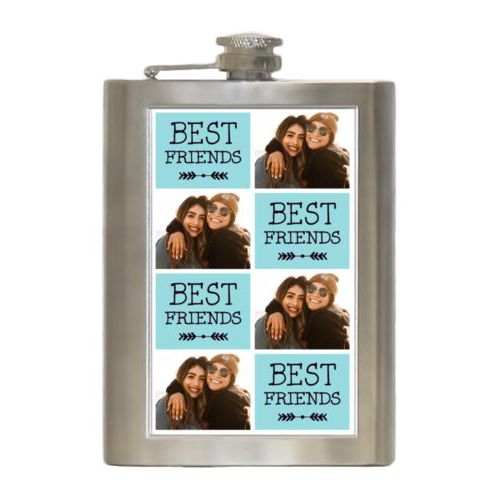 "Personalized 8oz flask personalized with a photo and the saying ""Best Friends"" in black and robin's shell"