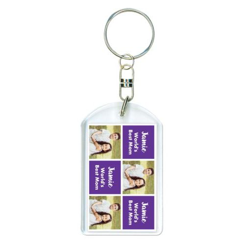 "Personalized plastic keychain personalized with a photo and the saying ""Jamie World's Best Mom"" in purple and white"