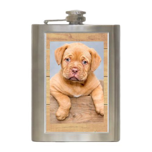Personalized 8oz flask personalized with natural wood pattern and photo