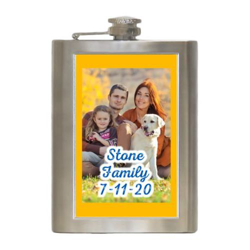 "Personalized 8oz flask personalized with photo and the saying ""Stone Family 7-11-20"""