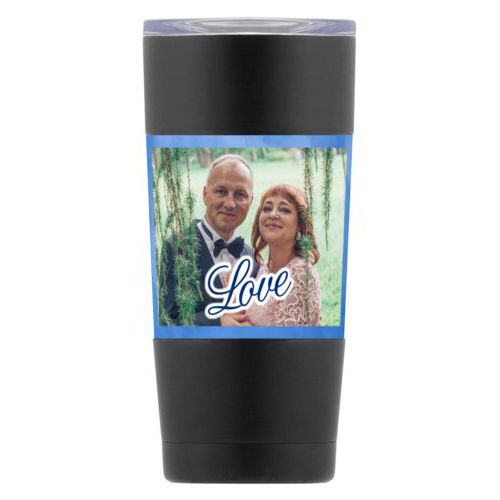 "Personalized insulated steel mug personalized with blue cloud pattern and photo and the saying ""love"""