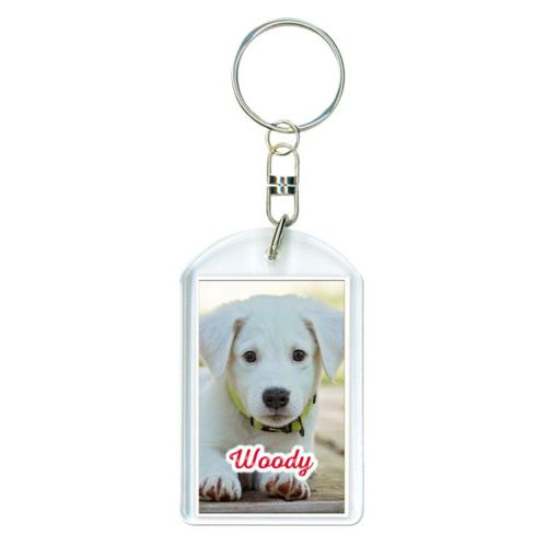 "Personalized plastic keychain personalized with photo and the saying ""Woody"""