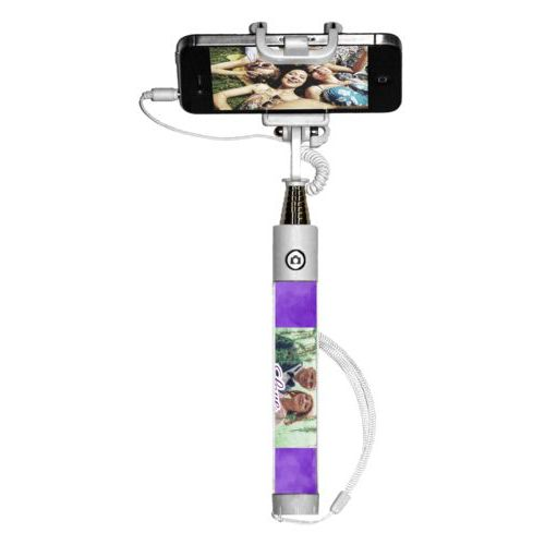 "Personalized selfie stick personalized with purple cloud pattern and photo and the saying ""love"""