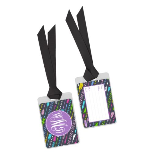 Personalized bag tag personalized with arrows pattern and monogram in purple powder