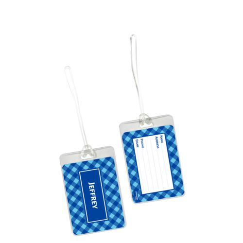 Personalized luggage tag personalized with check pattern and name in ultramarine